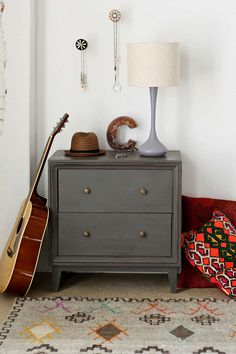 Sleek set of drawers in a stylish, modern-inspired design. Topped with an antiqued finish for a vintage-inspired touch. Doubles as a side ta. Set Of Drawers, Dresser Drawers, Dresser As Nightstand, Grey Dresser, Dressers, Furniture Update, Find Furniture, Gray Furniture, Bedroom Furniture