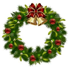 Transparent Christmas Pinecone Wreath with Gold Bells Clipart