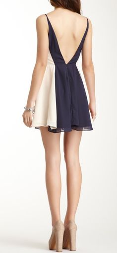 Colorblock V Back Dress