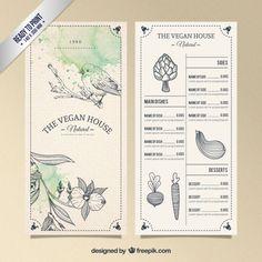 Vegetarian resturant menu in hand drawn style Free Vector Menu Restaurant, Resturant Menu, Restaurant Design, Cafe Menu Design, Food Menu Design, Bar Deco, Menu Layout, Menu Book, Menu Boards