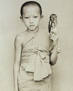 Young monk falconer