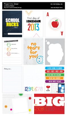 The Anticlockwise Fish: School is COOL!     free back to school journal cards