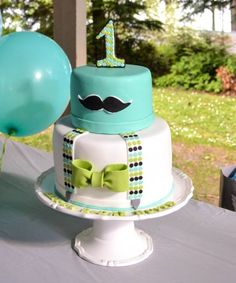 Fondant Mustache Cake Decorating for A Boy Birthday Party