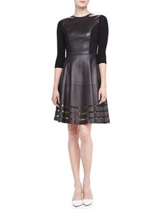 Dezma Leather & Ponte Dress by Elie Tahari at Neiman Marcus.