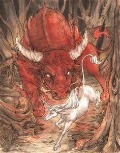 The Last Unicorn.  The Red Bull by ~Dreoilin on deviantART