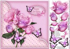 Pink Roses Square Decoupage on Craftsuprint designed by Sandie Burchell - Beautiful 8x8 inch Square Card with Pink Roses