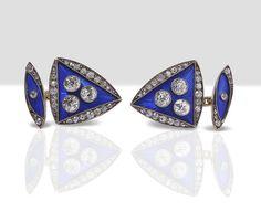 From Wartski. A pair of enamel and diamond set cufflinks by Hahn, Russian, circa 1900.