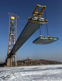During Construction of cable-stayed bridge to Russky Island, Russia