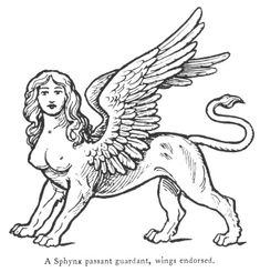Fictitious and Symbolic Creatures in Art: Other Chimerical Creatures and Heraldic Beasts: The Sphynx Sphynx, Mythological Creatures, Mythical Creatures, Sphinx Tattoo, Arte Punk, Gravure Illustration, Occult Art, Book Of Hours, Greek Art
