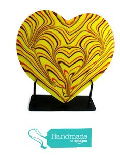 Foster's Beauties Yellow Combed Fused Glass Heart Sculpture With Red & Orange Accents from Foster's Beauties http://www.amazon.com/dp/B015TZ258K/ref=hnd_sw_r_pi_dp_Ew-lwb1M0G02S #handmadeatamazon