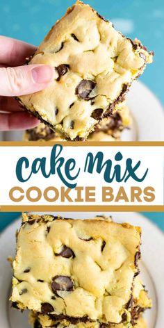 Cake Mix Desserts, Cake Mix Cookie Recipes, Easy Desserts, Delicious Desserts, Dessert Recipes, Yummy Food, Bar Recipes, Yellow Desserts, Easy Dessert Bars