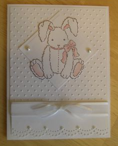 Love this card. Would be great as a new baby card or even for Easter. Love the white on white with the white bunny.