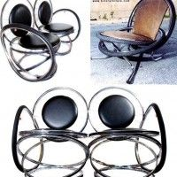 Make chairs from reclaimed bike wheels, stools and benches from saddles. Recycled bicycles for decoration. Bicycles recycled and repurposed bicycle furniture. Repurposed furniture ideas and free woodworking plans. Metal Furniture, Repurposed Furniture, Unique Furniture, Diy Furniture, Furniture Design, Patio Furniture Covers, Living Furniture, Furniture Making, Pimp Your Bike