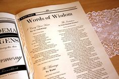 Newspaper Wedding Program - Words of wisdom such as special readings and poems that are meaningful to the couple are sealed in their wedding newspaper program ♥ #Newspaper #Wedding #Program