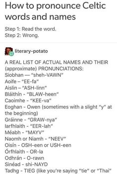 How to pronounce Celtic words and names Book Writing Tips, Writing Help, Writing Prompts, Writing Ideas, Writing Characters, Character Names, Character Quotes, Character Ideas, The More You Know