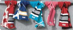 Warm winter scarves made of hockey socks! The inspiration behind sock-cessories is a pair of industrious Canadian hockey moms.