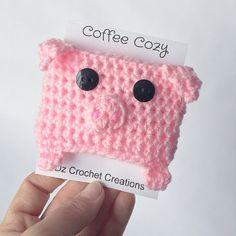 Coffee Cozy Crochet Coffee Cozy Pig Coffee Cozy by HandMadeByDz