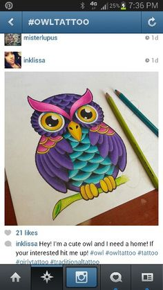 Owl tattoo - love the colors in this one.