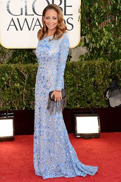 Nicole Richie stuns in a long sleeve ice blue Naeem Kahn gown at the 2013 Golden Globes.