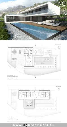 landscape architecture - modern house plan Villa Altea designed by NG architects www ngarchitects eu House Layout Plans, Dream House Plans, House Layouts, Contemporary House Plans, Modern House Plans, Modern Architecture House, Architecture Plan, Living Haus, Villa Plan
