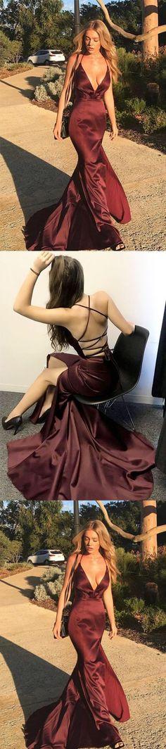 Hot Sexy Deep V-Neck Mermaid Burgundy Long Prom/Evening Dress with Criss Cross M2082