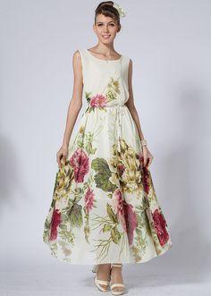Vestido gasa peonía sin manga-crudo
