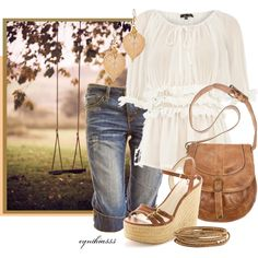 Pinterest has reminded me that I need brown/tan wedge sandals :) -- Perfect Summer Day, created by cynthia335 on Polyvore