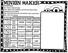 FREE! Minion Maker!  Students create their own!  Use as a game with stations, early finishers, indoor recess, or just because it it is plain-old fun!  FREE!