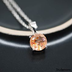 Sunstone Rhodium plated 925 Sterling Silver Pendant by Studemann