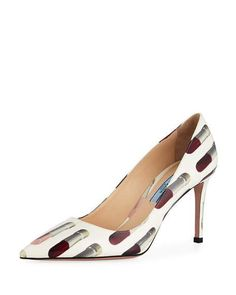 7a6777c3ddb3a Get free shipping on Prada Lipstick-Print Patent Leather Pump at Neiman  Marcus. Shop