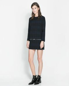 Image 1 of CHECKED DRESS WITH ZIPS from Zara