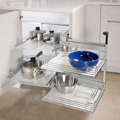 Does your corner cabinet need an update? One thing that can help a blind corner . Does your corner cabinet need an update? One thing that can help a blind corner cabinet is moving shelving. Check this one out from Hafele!