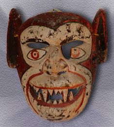 Demon Mask, Naolinco, Veracruz - in the USA it is hard to imagine the current use of these dance masks but the dances are real & meaningful - for more on Mexico visit www.mainlymexican.com #Mexico #Mexican #mask