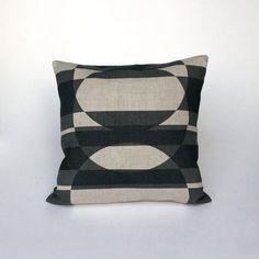 Monochrome limited edition handprinted retro print pillow; Nordic style cushion