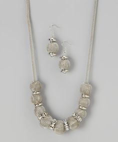 Take a look at this Silver Mesh Beaded Necklace & Earrings by Liza Kim Accessories on #zulily today!