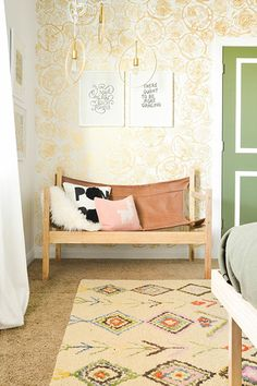 A Boho Bedroom Makeover That'll Make Your Jaw Drop #refinery29  http://www.refinery29.com/vintage-revivals/1#slide10  It's hard to even remember that sad, dark room.