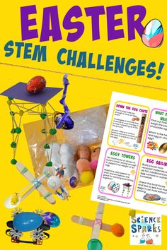 collection of easy Easter sTEM challenges for kids. Make toothpick towers to support a chocolate egg, make a catapult for an egg, a magnet powered egg car and Easter science for kids! Science Experiments Kids, Science For Kids, Easter Activities For Preschool, Educational Activities, Stem Science, Stem Challenges, Catapult, Creative Thinking, Fun Learning