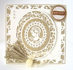 It's a quick second post from me today but I've just received my new Tonic Rococo dies and was dying to have a wee p. 3d Cards, Tonic Cards, Tattered Lace Cards, Studio Cards, Birthday Cards For Women, Silhouette, Die Cut Cards, Marianne Design