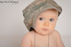 6 (six) month old baby girl photo shoot session in studio. Inspiration from her daddy who is in the navy. She is wearing her dad's dog tags and hat (military and deployed). Children, Kids, Baby, Babies, Photographer (picture Ideas).