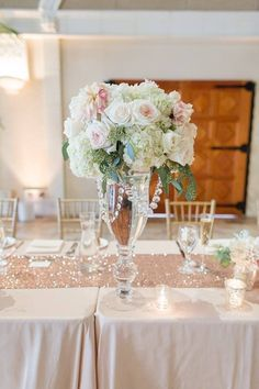 Elegant pastel pink, ivory and green wedding centerpieces - tall glass vases with crystals and lush hydrangea + rose flower arrangements {Red Eye Collection}