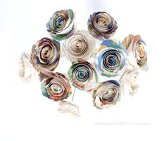 Alice in Wonderland - Nursery Decor or Wedding Bouquet made from Illustrated Children's Book - Colorful Classic Book Page Paper Flowers