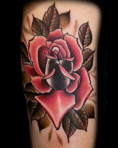rose tattoo in black & red by Black 13 Tattoo
