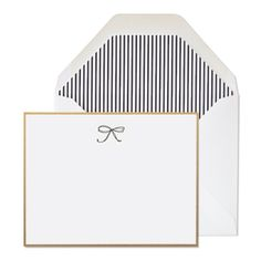 Black bow note set with pin striped lined envelopes from Sugar Paper. *Swoon*