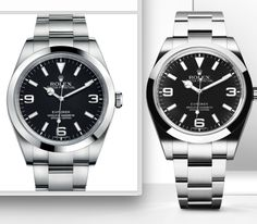 Rolex explorer 1 39mm - the first version with new 2016 version on the right - longer arms, lumed numbers