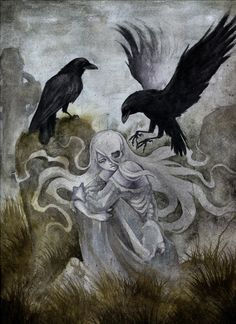 Ghost by Savannah Horrocks. Watercolor over a pencil drawing on soft press paper. Hel Goddess, Spiritual Animal, Dark Wings, Dark Pictures, Crows Ravens, Traditional Artwork, Goth Art, Fantasy Paintings, Norse Mythology