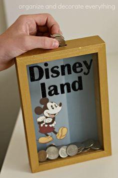 Disney Shadow Box Savings Bank adding money