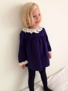 simple bit of lace brightens a dark dress Little Kid Fashion, Baby Girl Fashion, Toddler Fashion, Kids Fashion, Cool Kids Clothes, Cute Outfits For Kids, Toddler Outfits, Girl Outfits, Baby Kind