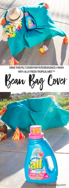 Our dogs chew all our patio furniture so we use bean bags - when we're not outside, we can easily stash them in a closet. If they get dirty, we can remove the covers and wash. I kinda love the yarn tassels :) Make this DIY Bean Bag Cover using felt to protect your bean bags on the patio. The cover is washable and will smell great when you wash it in all Laundry all® Fresh Tropical Mist™. SEE MORE: http://www.jenniferppriest.com/tropical-diy-bean-bag-cover/ #BringTheTropicsHome [AD]