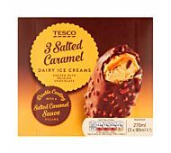 Tesco Ice Cream Salted Caramel dairy ice cream, covered with salted caramel sauce, coated in Belgian milk chocolate with caramel pieces Salted Caramel Sauce, Muffin, Frozen, Dairy, Milk, Ice Cream, Chocolate, Breakfast, Recipes