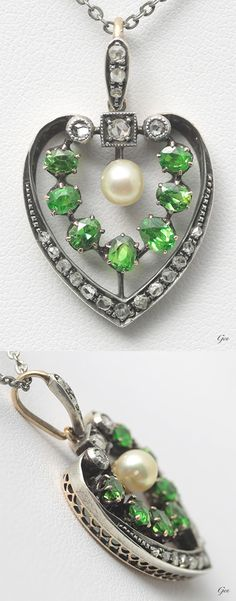 Demantoid garnet heart pendant, United Kingdom, ca. 1880, demantoid garnets, natural pearl, rose-cut diamonds, gold, silver, 2 x 3.2cm, 4.2g